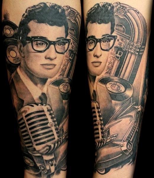Portrait Realistic Microphone Tattoo by Club Tattoo