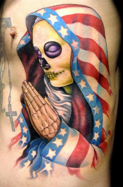 Side Mexican Skull Religious Tattoo by Club Tattoo