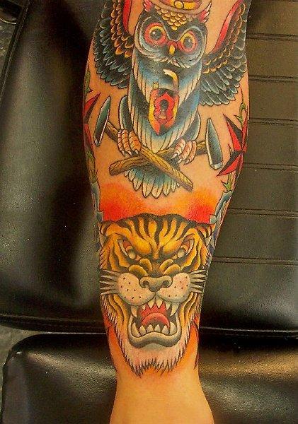 Arm Old School Owl Tiger Tattoo by Tattoo Lous