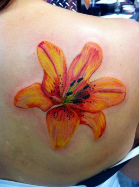 Shoulder Flower Tattoo by Tattoo Lous