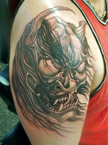 Shoulder Japanese Demon Tattoo by Tattoo Lous