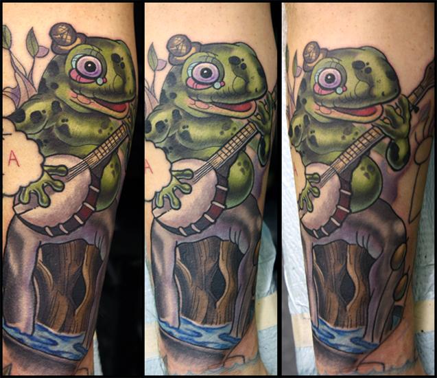 Arm Fantasie Frosch Tattoo von Scott Falbo