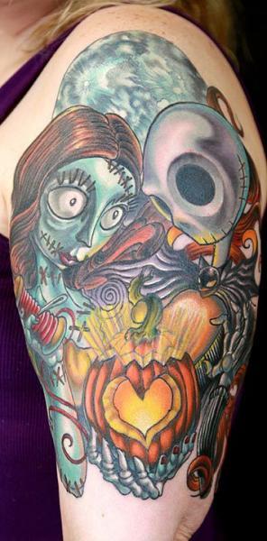 Shoulder Fantasy Tim Burton Tattoo by Seppuku Tattoo
