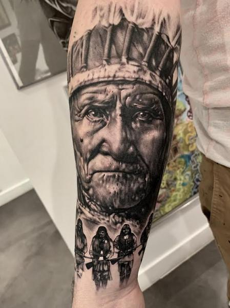 Arm Portrait Indian Tattoo by Dimitri Tattoo
