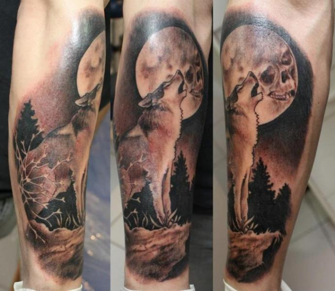 Arm Realistic Wolf Tattoo by Dimitri Tattoo