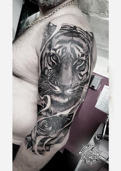 Shoulder Arm Flower Tiger Tattoo by Dimitri Tattoo