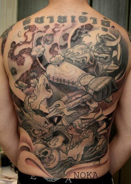 Fantasy Back Monster Tattoo by Dimitri Tattoo