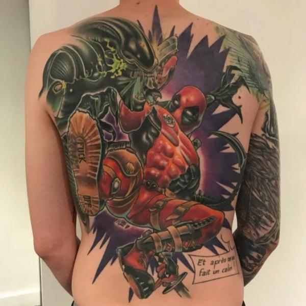 Back Hero Deadpool Tattoo by Dimitri Tattoo