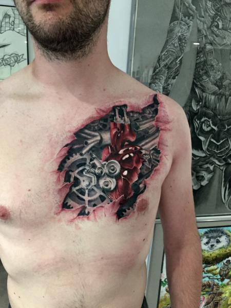 Biomechanical Chest Heart 3d Tattoo by Dimitri Tattoo