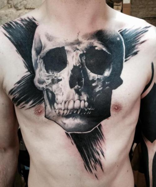 Chest Skull Tattoo by Dimitri Tattoo