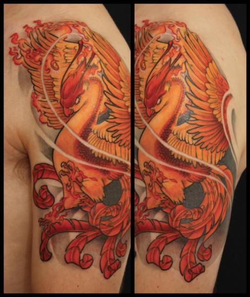 Shoulder Fantasy Phoenix Tattoo by Dimitri Tattoo