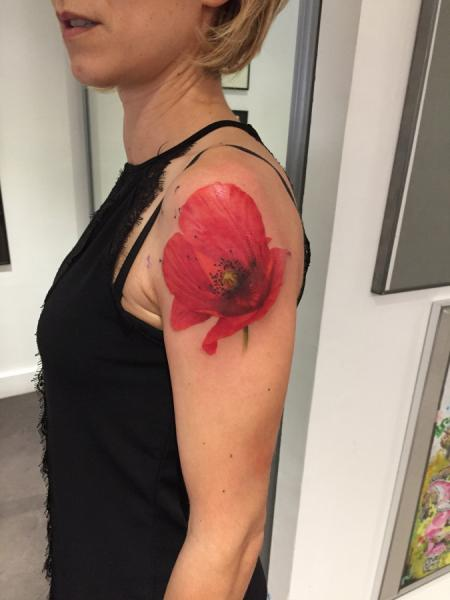 Shoulder Flower Poppy Tattoo by Dimitri Tattoo