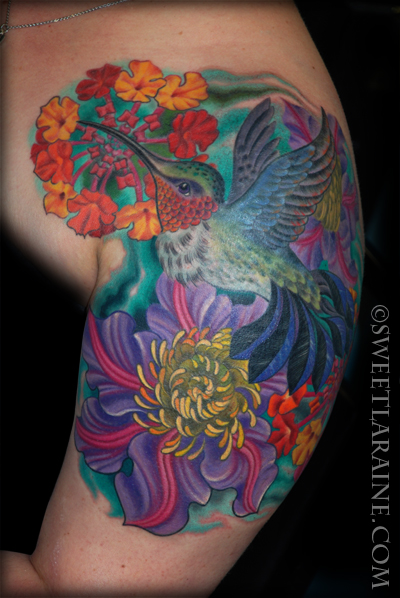 Shoulder Hummingbird Landscape Tattoo by Sweet Laraine Tattoos