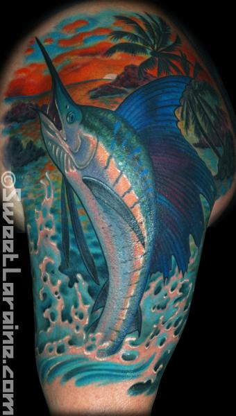 Shoulder Realistic Swordfish Tattoo by Sweet Laraine Tattoos