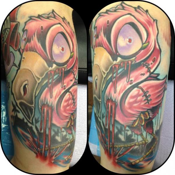 Fantasy Flamingo Tattoo by The Blue Rose Tattoo