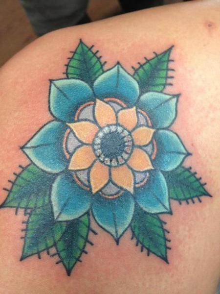 Shoulder Flower Tattoo by The Blue Rose Tattoo