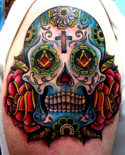 Schulter New School Mexikanischer Totenkopf Tattoo von The Blue Rose Tattoo