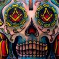 Shoulder New School Mexican Skull tattoo by The Blue Rose Tattoo