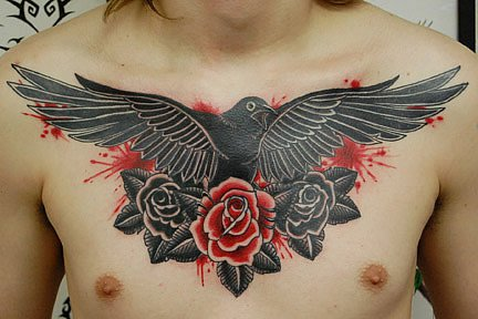 Chest Old School Swallow Flower Tattoo by Urban Art Tattoo