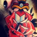 Old School Flower Neck Dagger tattoo by Urban Art Tattoo