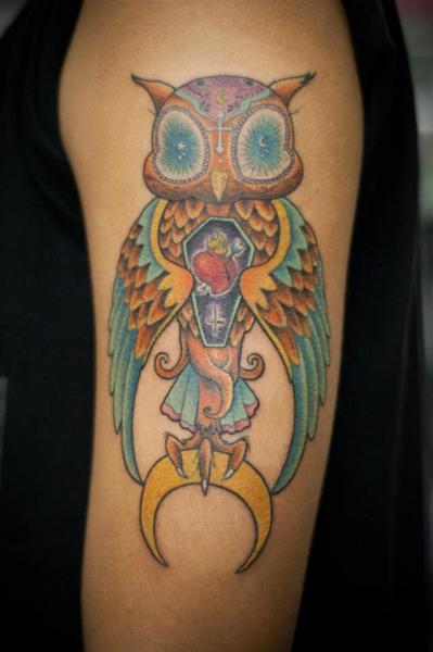 Arm New School Owl Tattoo by Czi Tattoo Studio