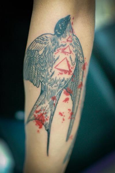 Arm Swallow Tattoo by Czi Tattoo Studio