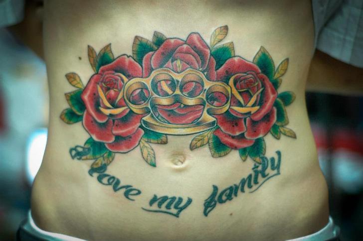 Old School Flower Belly Tattoo by Czi Tattoo Studio