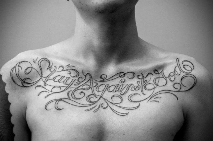 Tatuaje Pecho Letras Fuentes por Czi Tattoo Studio