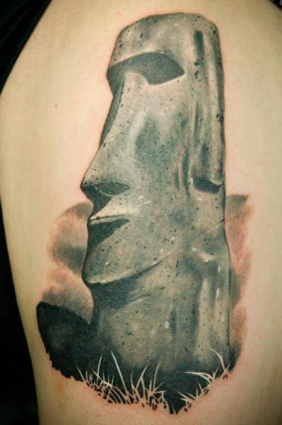 Realistic Moai Tattoo by Czi Tattoo Studio