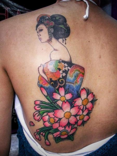 Shoulder Japanese Geisha Tattoo by Czi Tattoo Studio