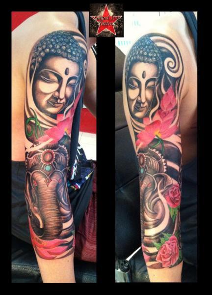 Tatuaje Brazo Buda Elefante por Samed Ink Tattoos