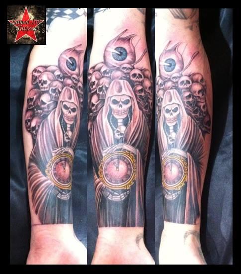 Arm Fantasy Clock Skull Tattoo by Samed Ink Tattoos