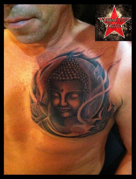 Chest Buddha Religious Tattoo by Samed Ink Tattoos