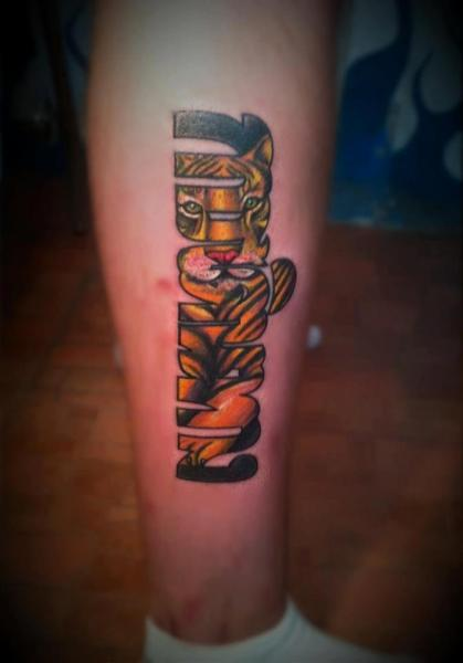 Leg Lettering Tiger Fonts Tattoo by Samed Ink Tattoos