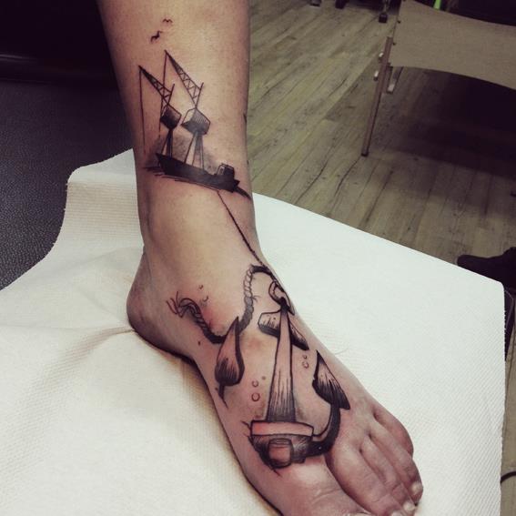 Fuss Anker 3d Tattoo Von Bubblegum Art