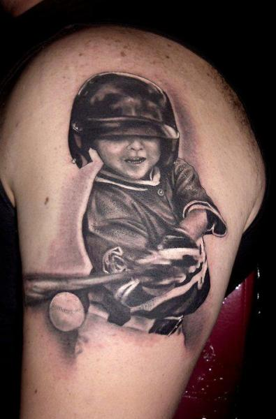 Realistische Baseball Tattoo von Andys Tattoo