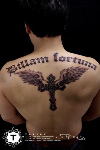 Lettering Back Wings Fonts Tattoo by Tatist Tattoo