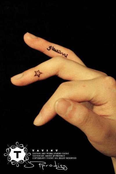 Finger Lettering Star Tattoo by Tatist Tattoo