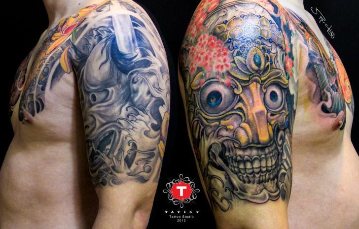 Schulter Japanische Totenkopf Tattoo von Tatist Tattoo