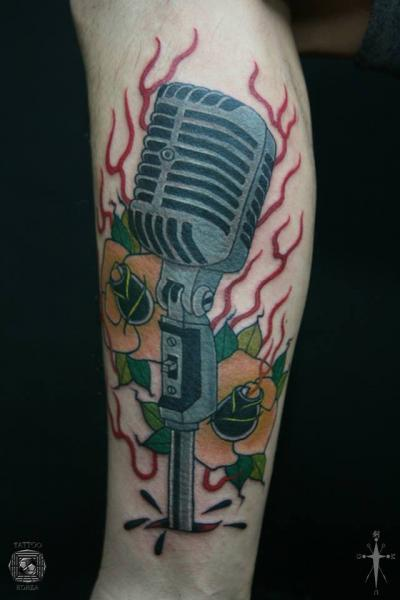 Arm New School Microphone Tattoo by Tattoo Korea