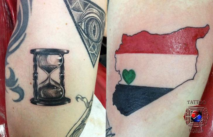 Clepsydra Flag Tattoo by Tattoo Korea