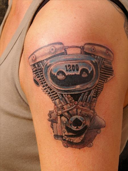 Arm Realistic Motor Tattoo by Andys Body Electric