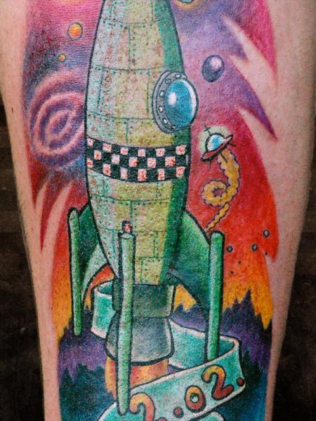 Fantasie Rakete Tattoo von Andys Body Electric