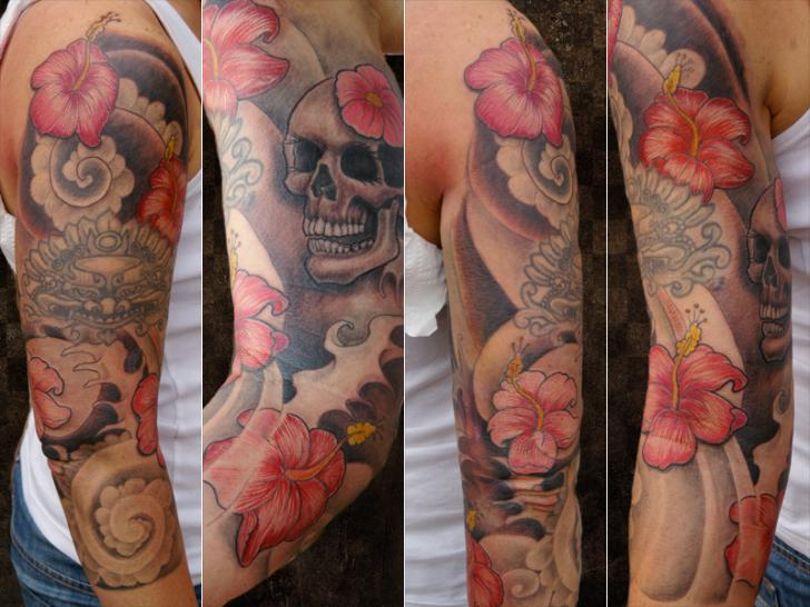 Flower Japanese Skull Tattoo by Andys Body Electric