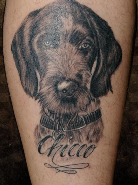 Realistic Leg Dog Tattoo by Andys Body Electric