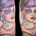 Shoulder New School Woman tattoo by Andys Body Electric