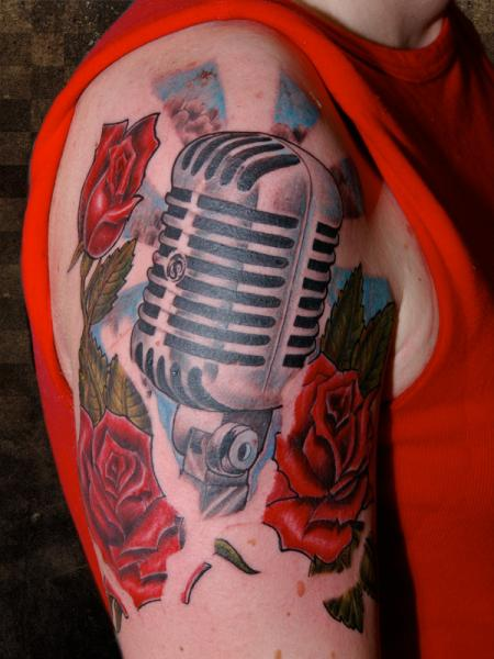 Shoulder Realistic Microphone Tattoo by Andys Body Electric