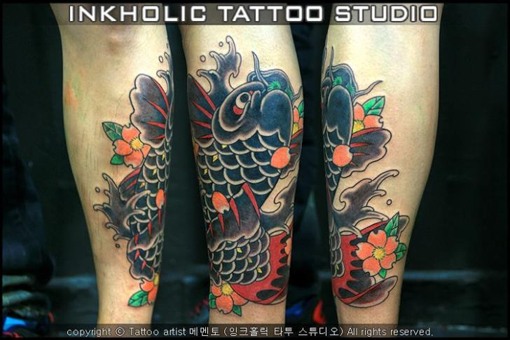 Arm Japanese Carp Koi Tattoo by Inkholic Tattoo
