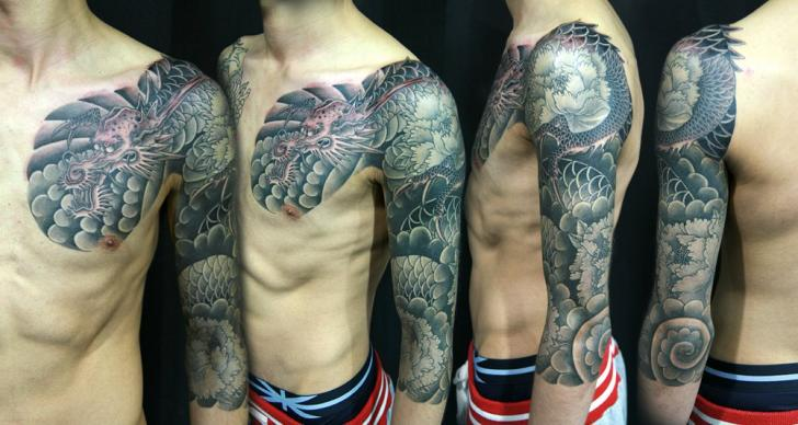 Arm Japanese Dragon Tattoo by Inkholic Tattoo