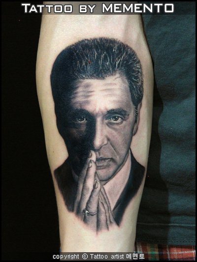Arm Realistic Al Pacino Tattoo by Inkholic Tattoo